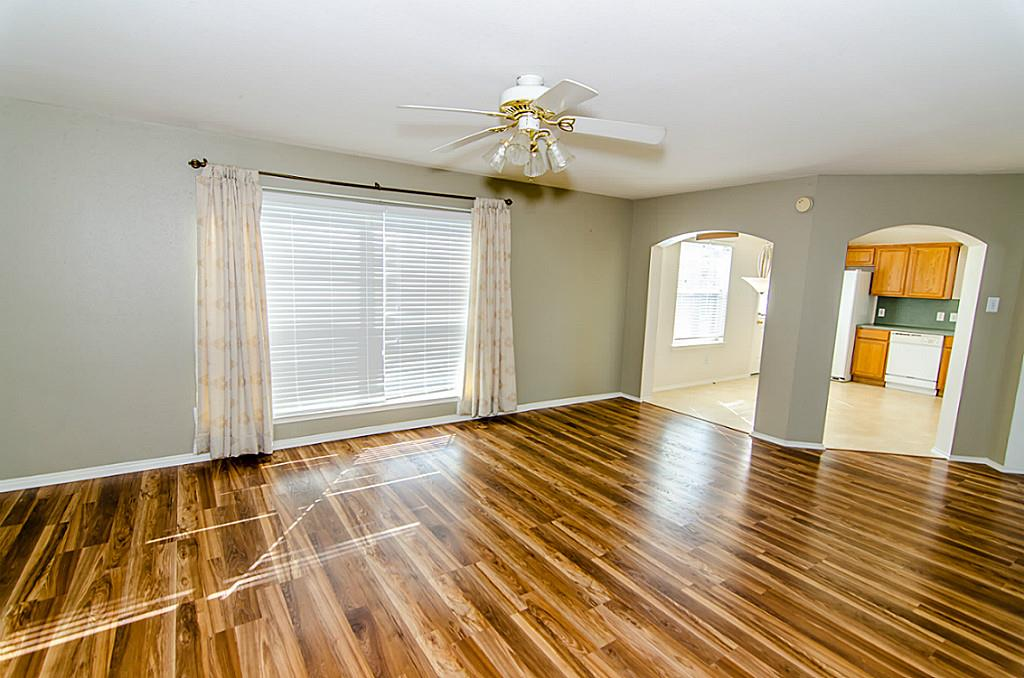 Living Room Interior Paint Job and Newly Installed Hardwood Floor in Richmond, TX